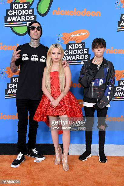 Travis Barker Alabama Luella Barker and Landon Asher Barker attends Nickelodeon's 2018 Kids' Choice Awards at The Forum on March 24 2018 in Inglewood...