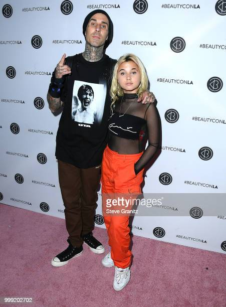Travis Barker Alabama Luella Barker arrives at the Beautycon Festival LA 2018 at Los Angeles Convention Center on July 14 2018 in Los Angeles...