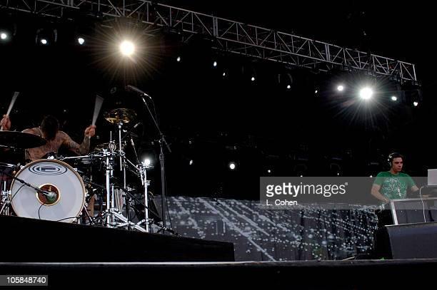 Travis Barker and DJ AM during KROQ Inland Invasion 5 Show at Hyundai Pavilion at Glen Helen in Devore California United States