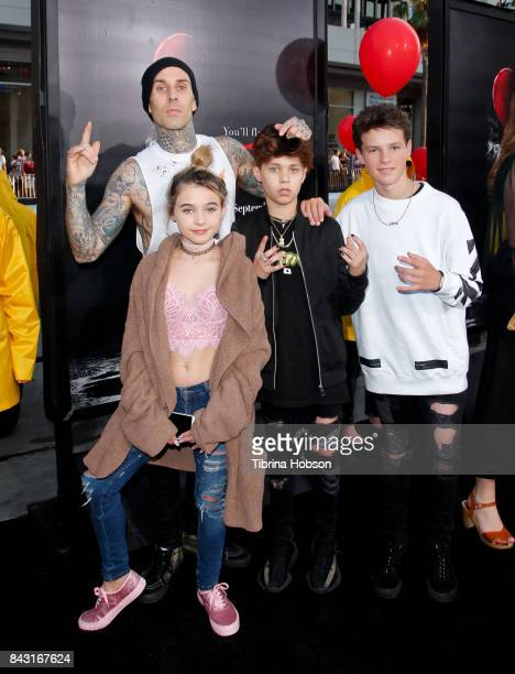 Travis Barker and his kids attend the premiere of 'It' at TCL Chinese Theatre on September 5 2017 in Hollywood California