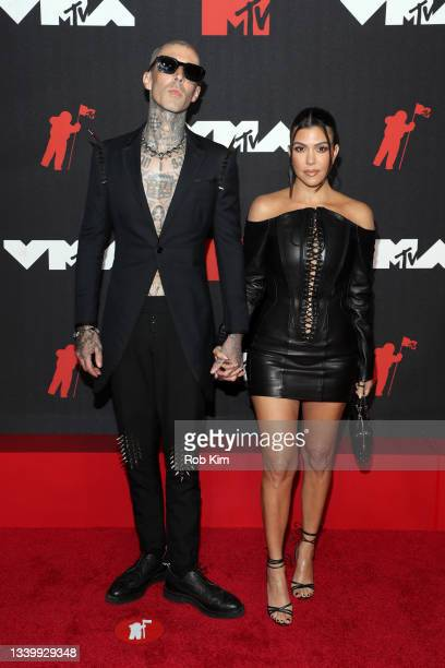 Travis Barker and Kourtney Kardashian attend the 2021 MTV Video Music Awards at Barclays Center on September 12, 2021 in the Brooklyn borough of New...