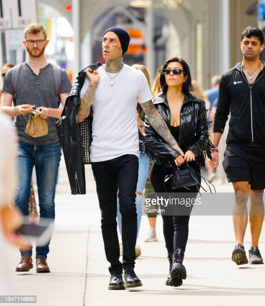 Travis Barker and Kourtney Kardashian seen on October 16, 2021 in New York City.