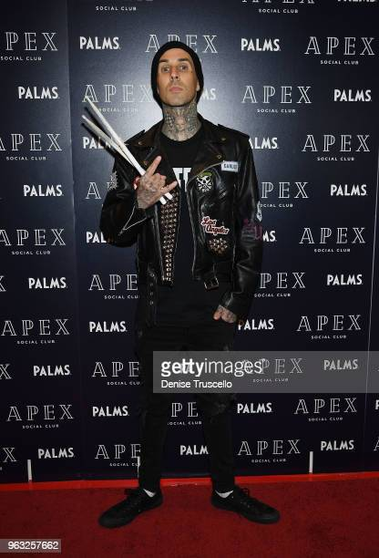 Travis Barker arrives at day 3 of the grand opening weekend of APEX Social Club at Palms Casino Resort on May 27 2018 in Las Vegas Nevada