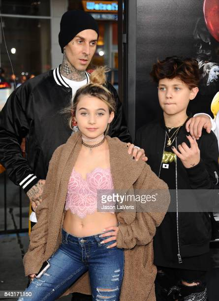 Travis Barker daughter Alabama Luella Barker and son Landon Asher Barker attend the premiere of It at TCL Chinese Theatre on September 5 2017 in...