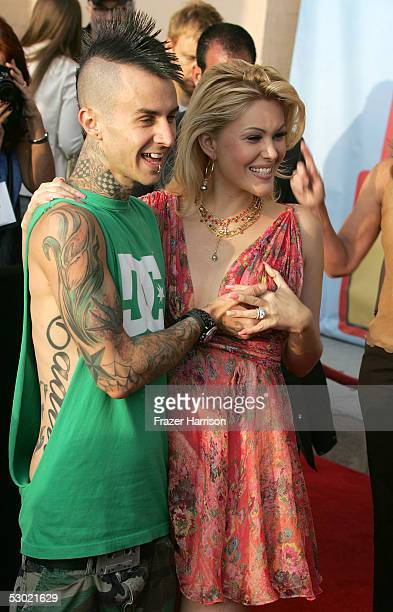 Travis Barker drummer for Blink 182 and wife Shanna Moakler arrive to the 2005 MTV Movie Awards at the Shrine Auditorium June 4, 2005 in Los Angeles,...