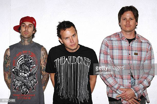 Travis Barker, Mark Hoppus and Tom DeLonge of Blink-182 attend their summer tour launch party at El Compadre on May 18, 2009 in Los Angeles,...