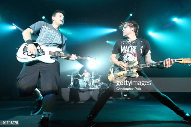Travis Barker, Mark Hoppus and Tom DeLonge of Blink-182 performs at T-Mobile Sidekick Presents the 2009 Blink-182 Tour at the Hollywood Palladium on...