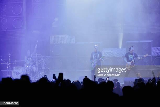 Travis Barker Matt Skiba and Mark Hoppus of Blink182 perform at The Forum on August 08 2019 in Inglewood California