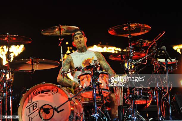 Travis Barker of Blink 182 performs on stage at the O2 Arena on July 19 2017 in London England