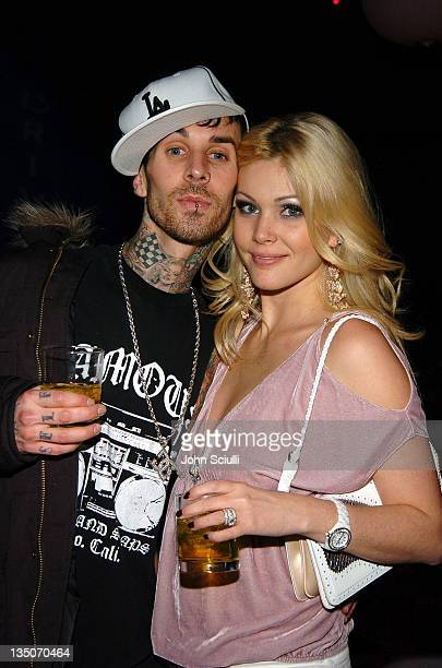 Travis Barker of Blink 182 with Shanna Moakler during 2005 Volkswagen Jetta Premiere Party Inside at The Lot in West Hollywood California United...