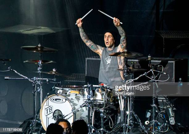 Travis Barker of Blink182 performs at DTE Energy Music Theater on September 10 2019 in Clarkston Michigan