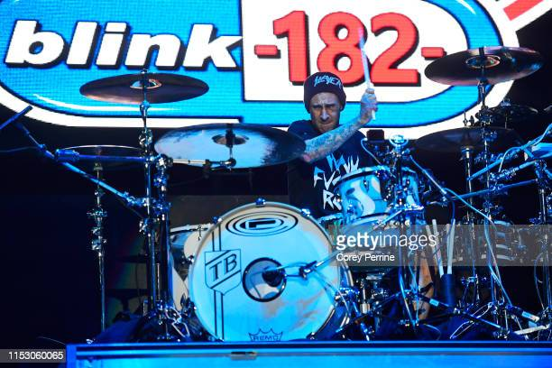 Travis Barker of Blink-182 performs during the second and final day of Warped Tour on June 30, 2019 in Atlantic City, New Jersey.