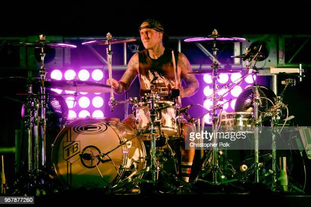 Travis Barker of blink182 performs onstage at KROQ Weenie Roast 2018 at StubHub Center on May 12 2018 in Carson California