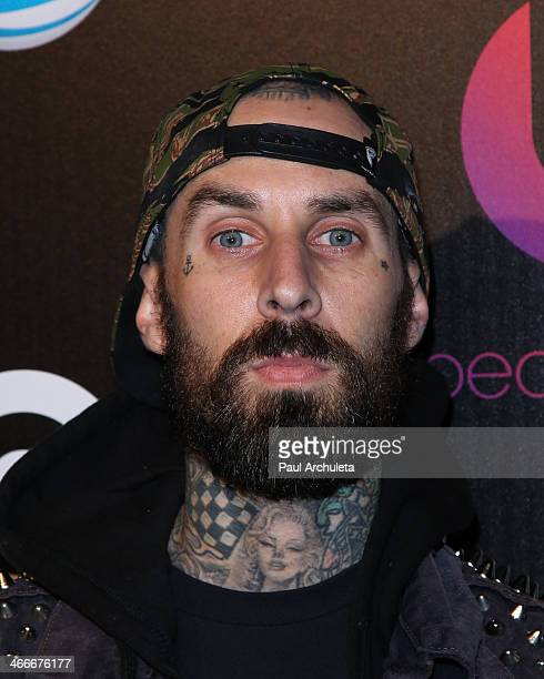 Travis Barker of the Rock Band Blink 182 attends the official launch party for Beats Music from Beats By Dr Dre at Belasco Theatre on January 24 2014...