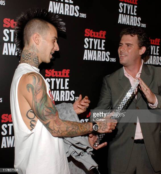 Travis Barker receives the Icon Award from Jimmy Jellinek Editor In Chief of Stuff Magazine