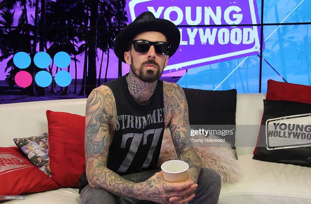 Travis Barker Visits Young Hollywood Studio