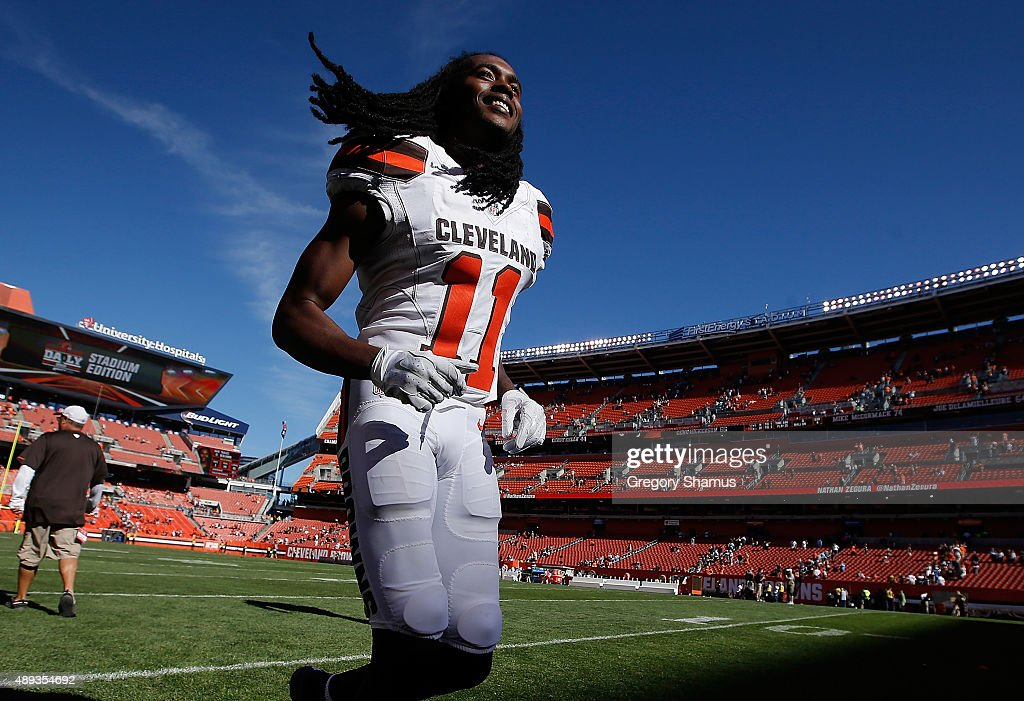 Travis Benjamin #11 of the Cleveland Browns celebrates a 28-14 win over the Tennessee Titans at FirstEnergy Stadium on September 20, 2015 in Cleveland, Ohio.
