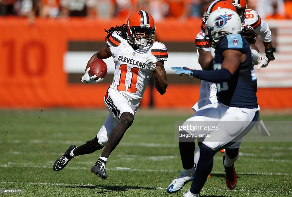 Travis Benjamin #11 of the Cleveland Browns returns a second quarter punt for a touchdown while playing the Tennessee Titans at FirstEnergy Stadium on September 20, 2015 in Cleveland, Ohio.