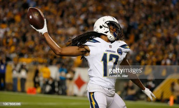 Travis Benjamin of the Los Angeles Chargers reacts after a 46 yard touchdown reception in the first quarter during the game against the Pittsburgh...