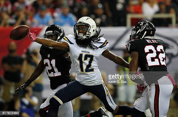 Travis Benjamin of the San Diego Chargers fails to pull in touchdown reception against Desmond Trufant and Keanu Neal of the Atlanta Falcons at...