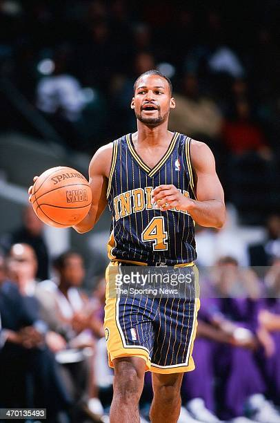Travis Best of the Indiana Pacers during the game against the Charlotte Hornets on November 4 1999 at Charlotte Coliseum in Charlotte North Carolina