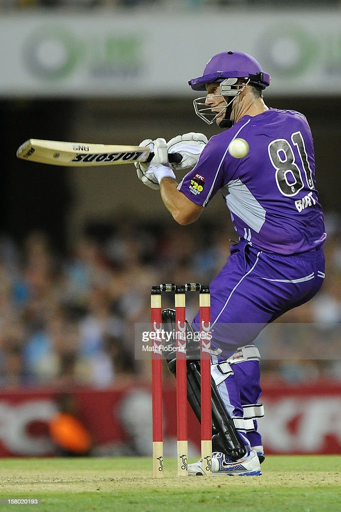 Travis Birt of the Hurricanes bats during the Big Bash League match between the Brisbane Heat and the Hobart Hurricanes at The Gabba on December 9, 2012 in Brisbane, Australia.