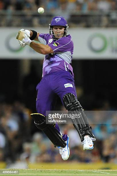 Travis Birt of the Hurricanes bats during the Big Bash League match between Brisbane Heat and the Hobart Hurricanes at The Gabba on December 28 2013...