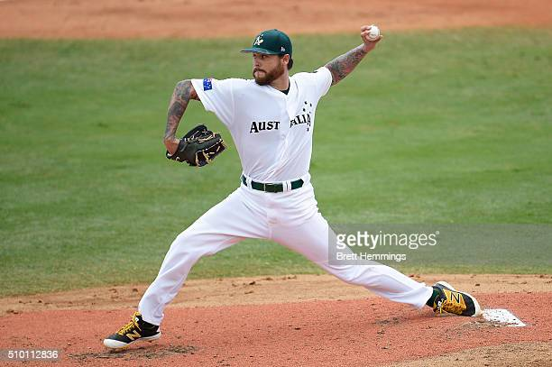 Travis Blackley of Australia pitches during the World baseball Classic Final match between Australia and South Africa at Blacktown International...