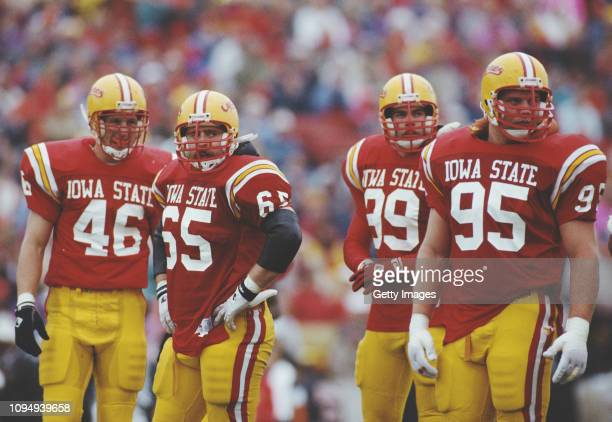 Travis Block, Matt Rehberg, Larry Ratigan and Mark DouBrava Defensive Lineman for the Iowa State Cyclones during the NCAA Big Eight Conference...