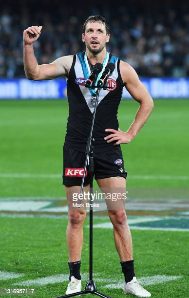 Travis Boak of Port Adelaide man of the match thanks the fans after the round eight AFL match between the Port Adelaide Power and the Adelaide Crows...