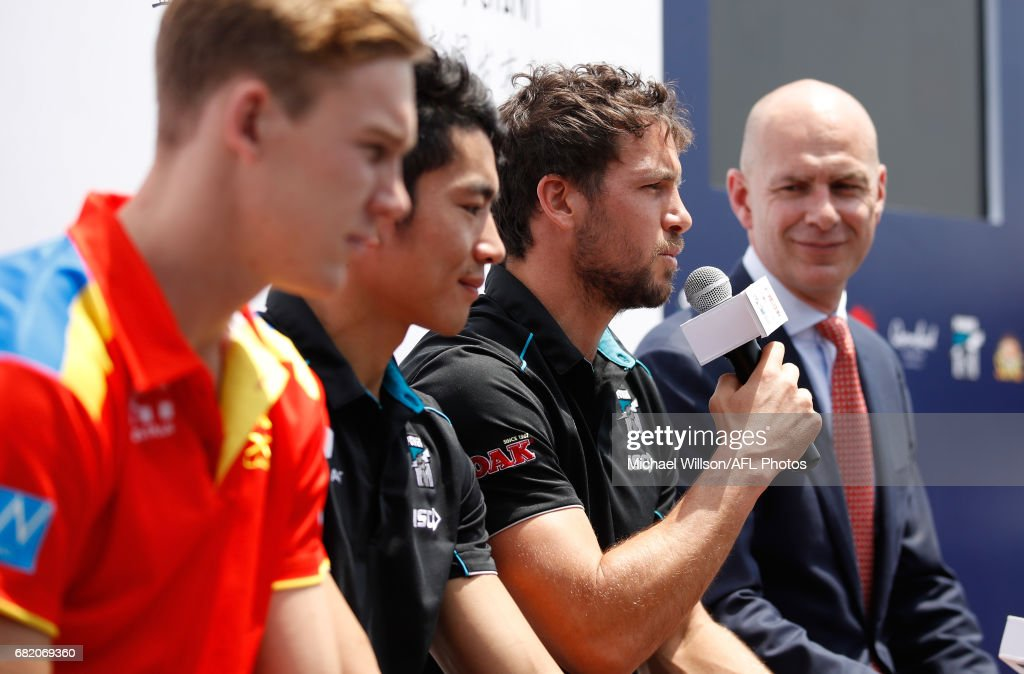 Travis Boak of the Power addresses the gathering during the Port Adelaide Power and Gold Coast Suns joint Captain and Coach press conference at Bar Rouge overlooking The Bund on May 11, 2017 in Shanghai, China.