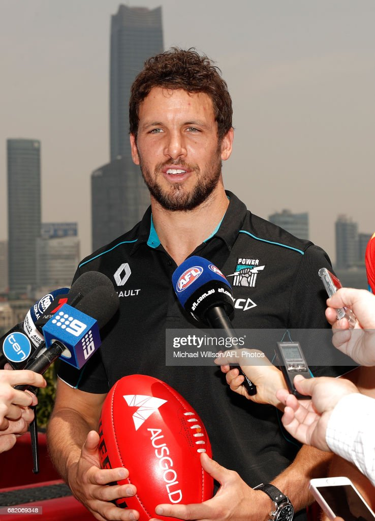 Travis Boak of the Power addresses the media during the Port Adelaide Power and Gold Coast Suns joint Captain and Coach press conference at Bar Rouge overlooking The Bund on May 11, 2017 in Shanghai, China.