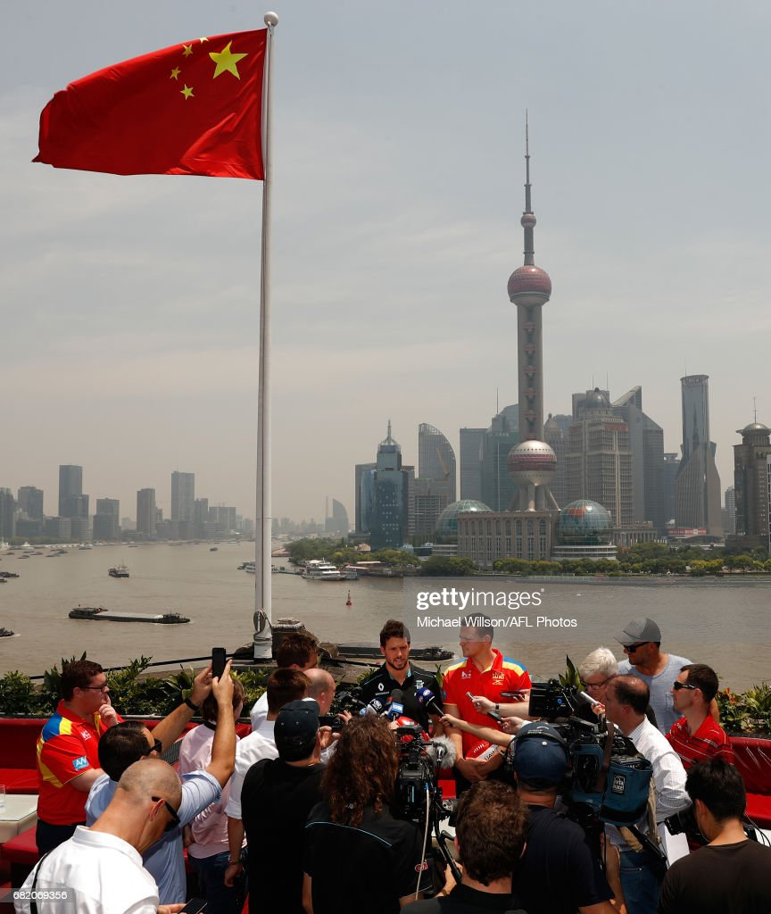 Travis Boak of the Power (left) and Steven May of the Suns (right) address the media during the Port Adelaide Power and Gold Coast Suns joint Captain and Coach press conference at Bar Rouge overlooking The Bund on May 11, 2017 in Shanghai, China.