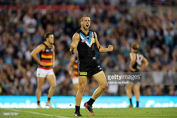Travis Boak of the Power celebrates after kicking a goal during the round three AFL match between Port Adelaide Power and the Adelaide Crows at AAMI...