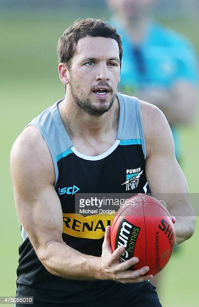 Travis Boak of the Power looks upfield during a Port Adelaide Power AFL training session on May 29 2015 in Alice Springs Australia