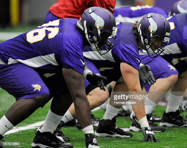 Travis Bond and Jeff Baca of the Minnesota Vikings line up to run a drill during a rookie minicamp on May 3 2012 at Winter Park in Eden Prairie...