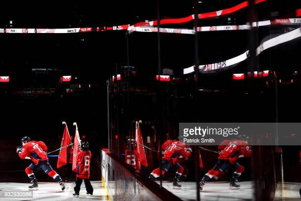 Travis Boyd of the Washington Capitals takes the ice before playing against the New York Islanders during the first period at Capital One Arena on...