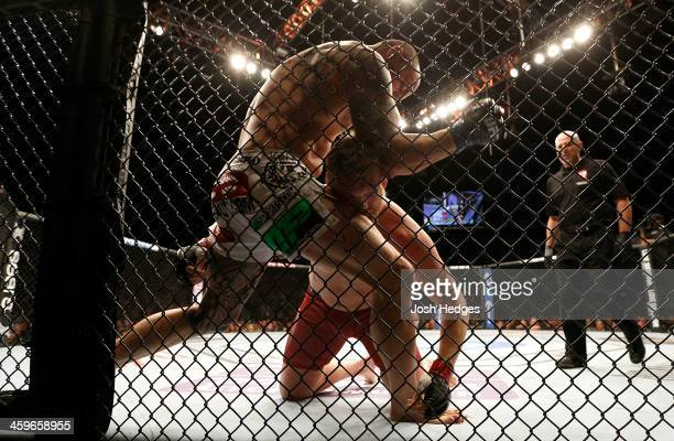 Travis Browne elbows Josh Barnett in their heavyweight bout during the UFC 168 event at the MGM Grand Garden Arena on December 28, 2013 in Las Vegas,...