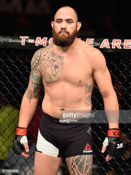 Travis Browne enters the Octagon before facing Aleksei Oleinik of Russia in their heavyweight bout during the UFC 213 event at TMobile Arena on July...