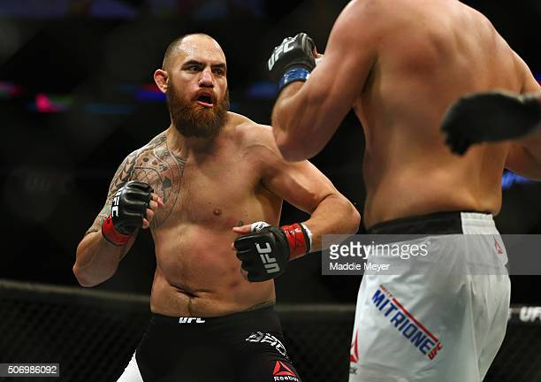Travis Browne faces Matt Mitrione in their heavyweight bout during UFC Fight Night 81 at TD Banknorth Garden on January 17 2016 in Boston...