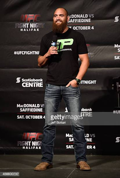 Travis Browne interacts with fans during a QA session before the UFC Fight Night weighin at the Scotiabank Centre on October 3 2014 in Halifax Nova...