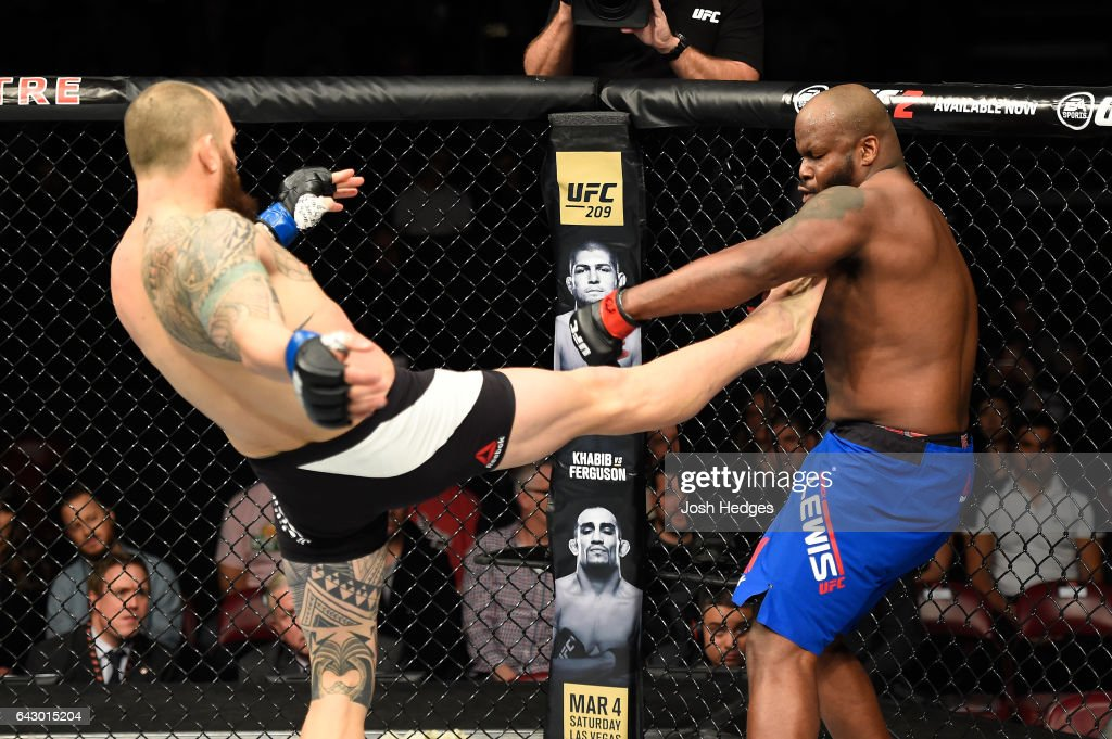 Travis Browne lands a front kick to the body of Derrick Lewis in their heavyweight fight during the UFC Fight Night event inside the Scotiabank Centre on February 19, 2017 in Halifax, Nova Scotia, Canada.