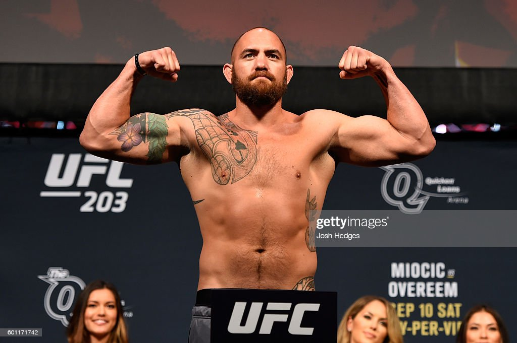Travis Browne of the United States steps on the scale during the UFC 203 Weigh-in at Quicken Loans Arena on September 9, 2016 in Cleveland, Ohio.