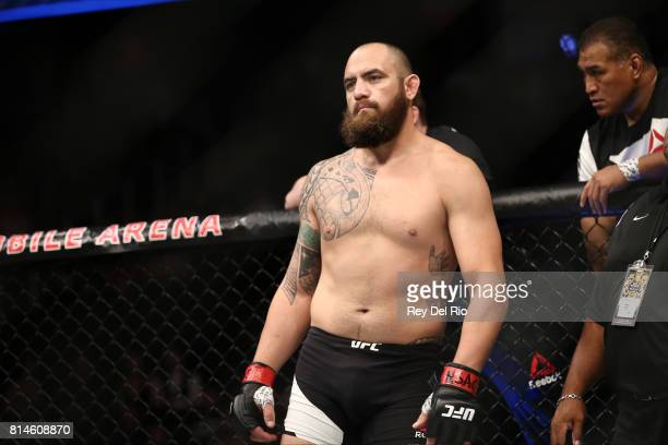 Travis Browne stands in the Octagon prior to his bout against Aleksei Oleinik during the UFC 213 event at TMobile Arena on July 9 2017 in Las Vegas...