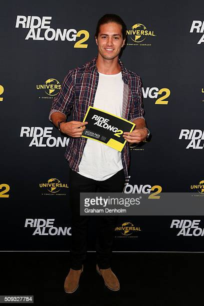 Travis Burns arrives ahead of the Ride Along 2 Australian Premiere at Hoyts Melbourne Central on February 10, 2016 in Melbourne, Australia.