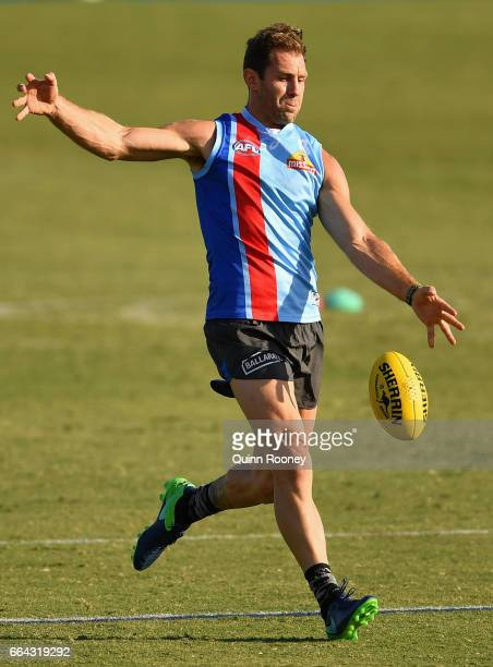 Travis Cloke of the Bulldogs kicks during a Western Bulldogs AFL training session at Whitten Oval on April 4 2017 in Melbourne Australia