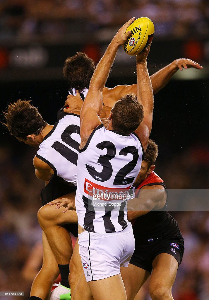 Travis Cloke of the Collingwood Magpies marks the ball during the round one AFL NAB Cup match between the Collingwood Magpies and the Essendon Bombers at Etihad Stadium on February 15, 2013 in Melbourne, Australia.