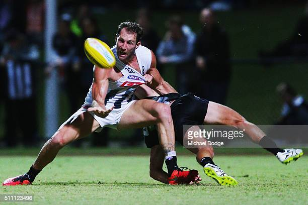 Travis Cloke of the Magpies competes for the ball during the Collingwood Magpies AFL Intraclub match at Olympic Park on February 18 2016 in Melbourne...