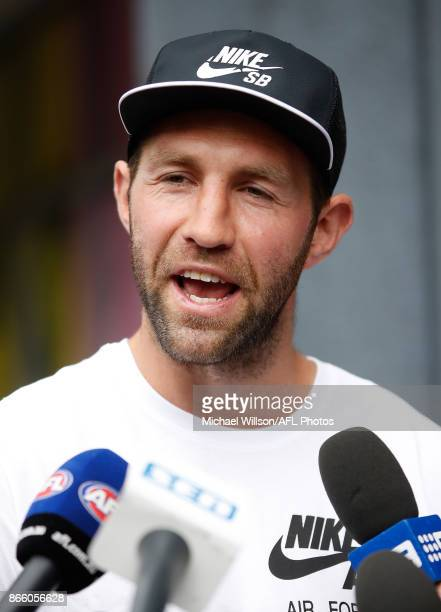Travis Cloke speaks with media after announcing his retirement at Nike on October 25 2017 in Melbourne Australia
