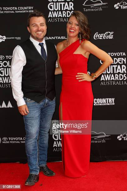 Travis Collins and Amber Lawrence arrive at the 2018 Toyota Golden Guitar Awards on January 27 2018 in Tamworth Australia